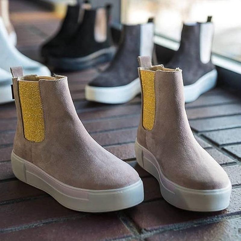 36-40 натуральные замшевые ботинки челси пудра / деми зима