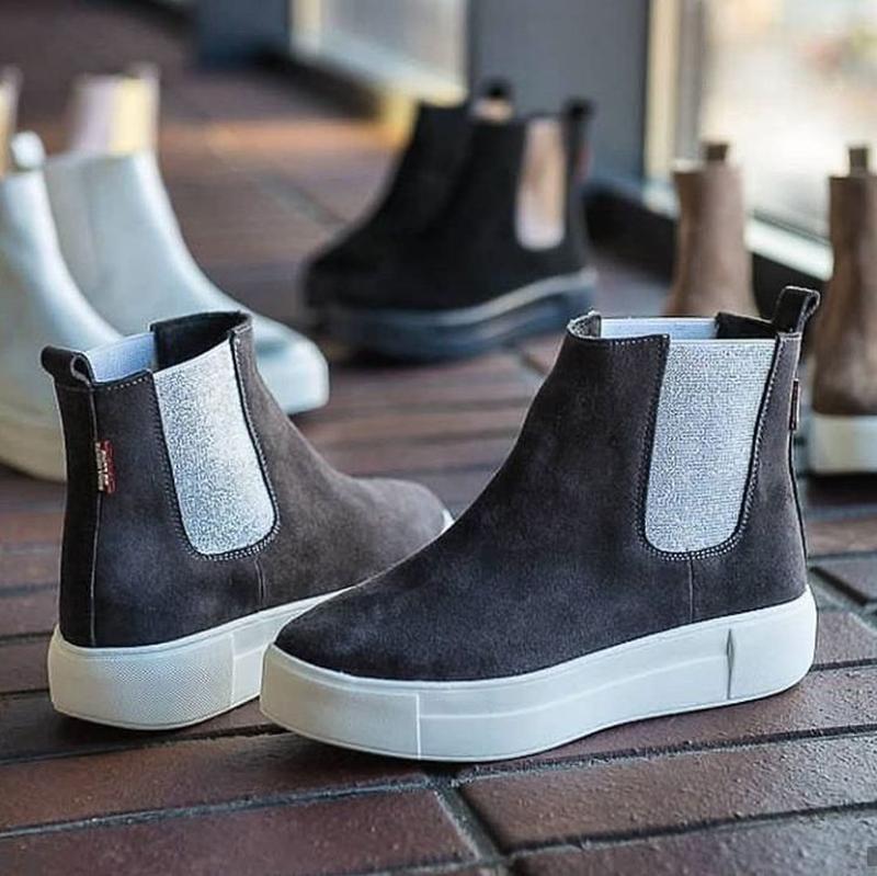 36-40 натуральные замшевые ботинки челси серые / деми зима