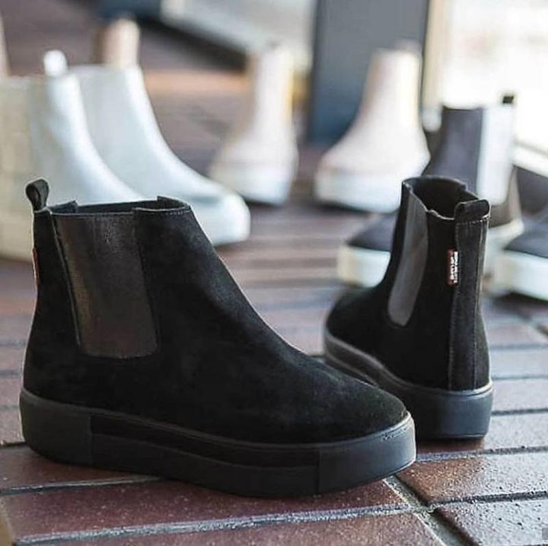 36-40 натуральные замшевые ботинки челси черные / деми зима