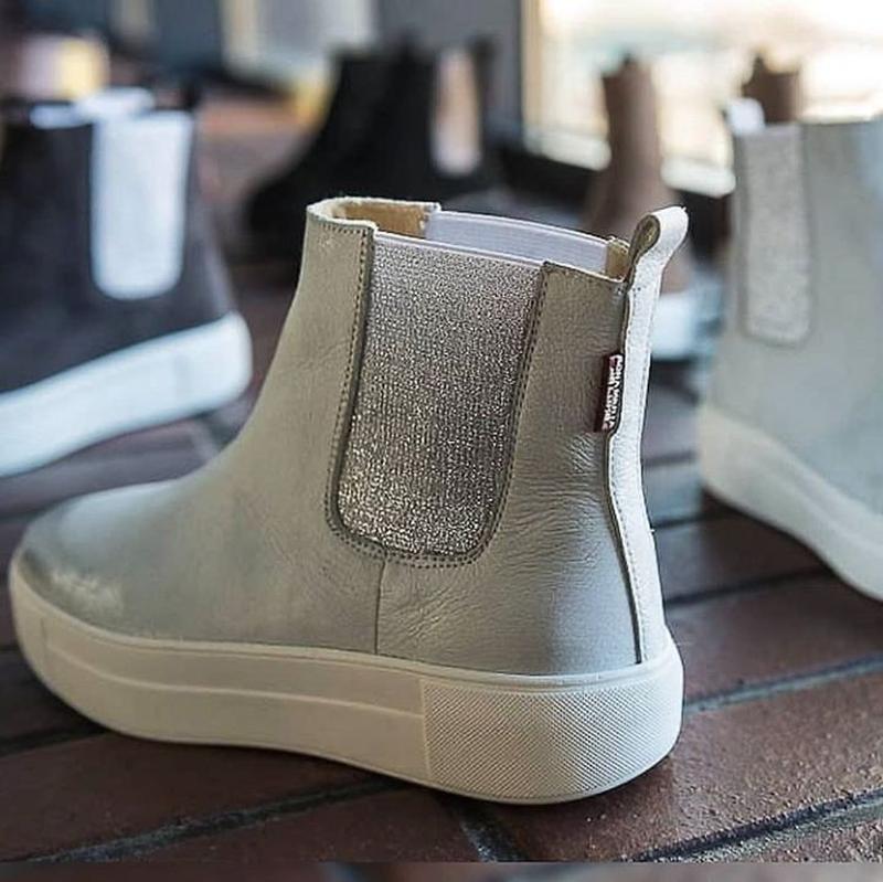 36-40 натуральные кожаные ботинки челси белые / деми зима