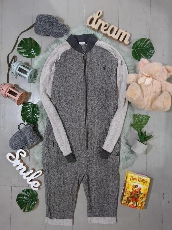 Теплая трикотажная пижама комбинезон #39
