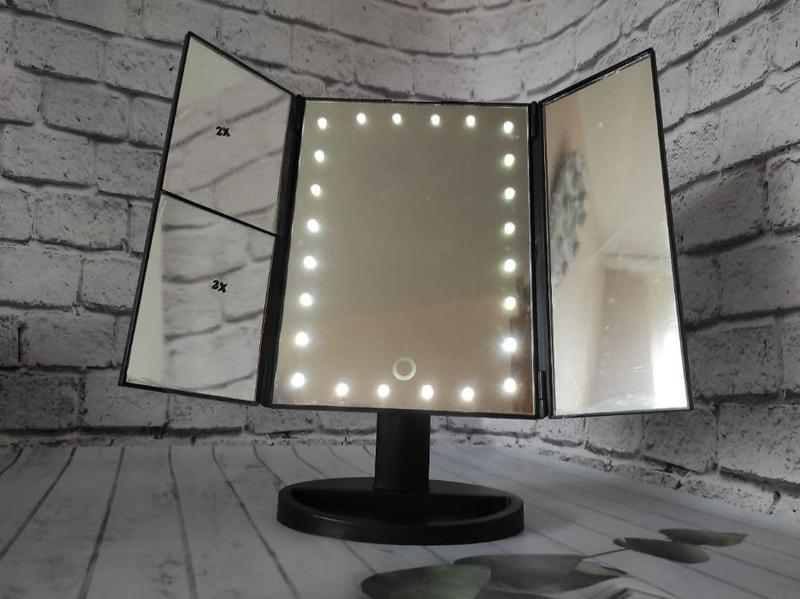 Зеркало для макияжа с LED подсветкой тройное Дзеркало для макіяжу