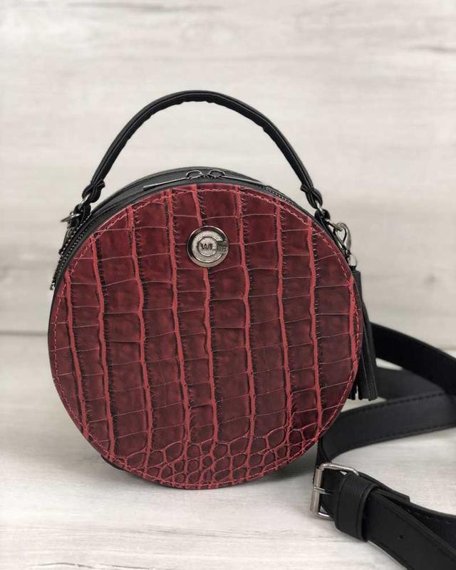 Круглая женская сумочка кросс-боди черная красная крокодиловая