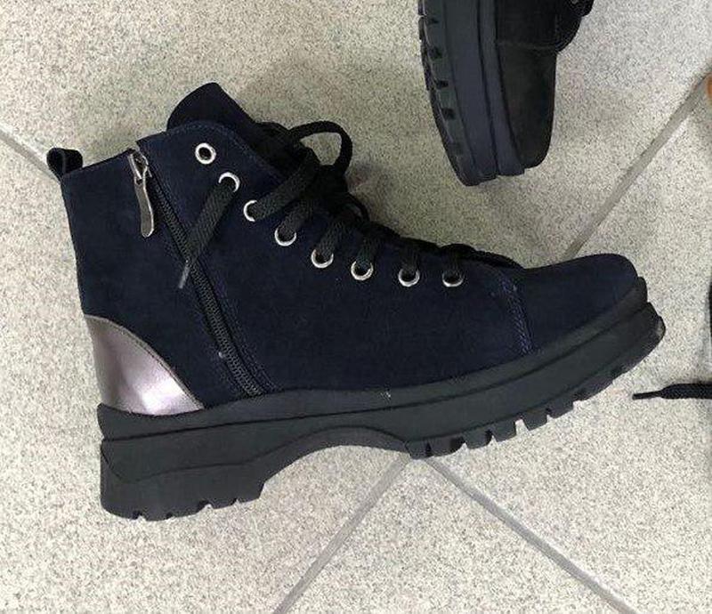Женские зимние ботинки велюровые черные