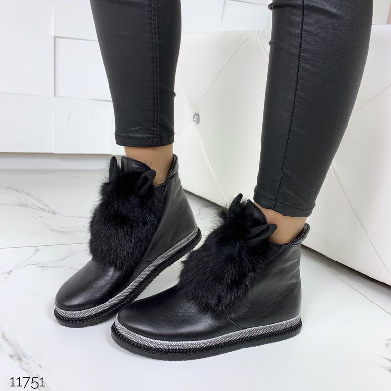 Зимние ботинки из натуральной кожи с опушкой из кролика - Фото 6
