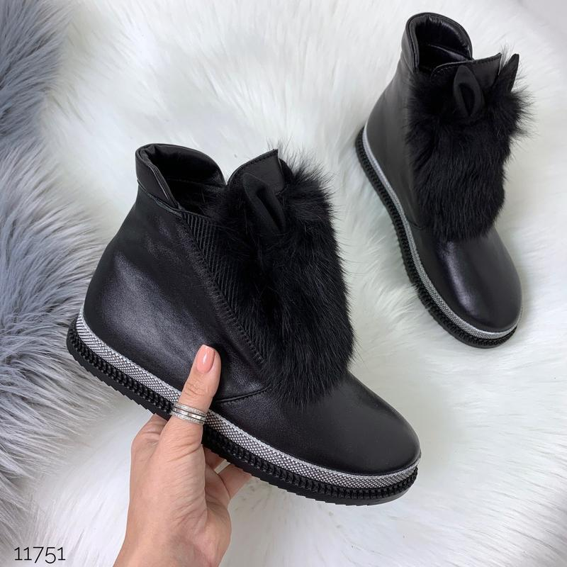 Зимние ботинки из натуральной кожи с опушкой из кролика - Фото 8