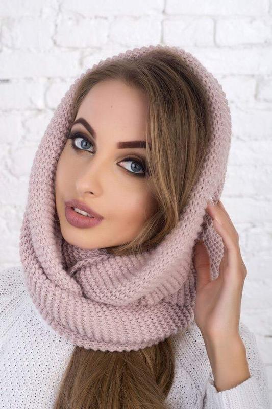 Новый модный хомут восьмерка, розовая пудра