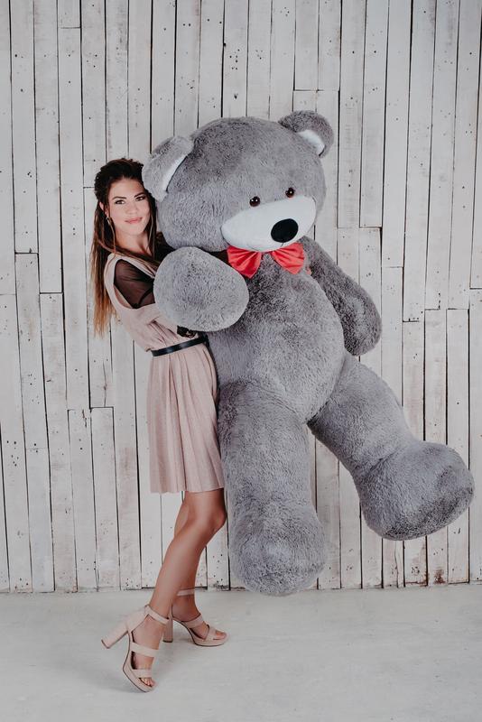Большой плюшевый мишка Yarokuz Ричард 200 см Серый