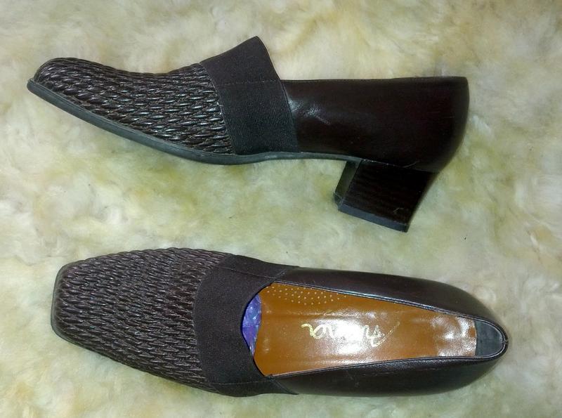Удобнейшие кожаные коричневые туфли,40разм.,стелька-26,5см,италия - Фото 2