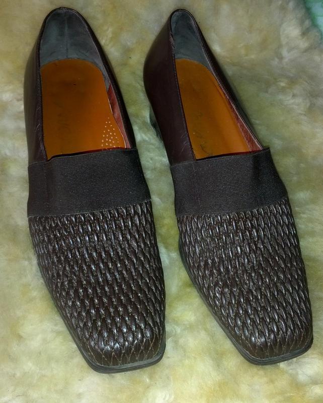Удобнейшие кожаные коричневые туфли,40разм.,стелька-26,5см,италия - Фото 3