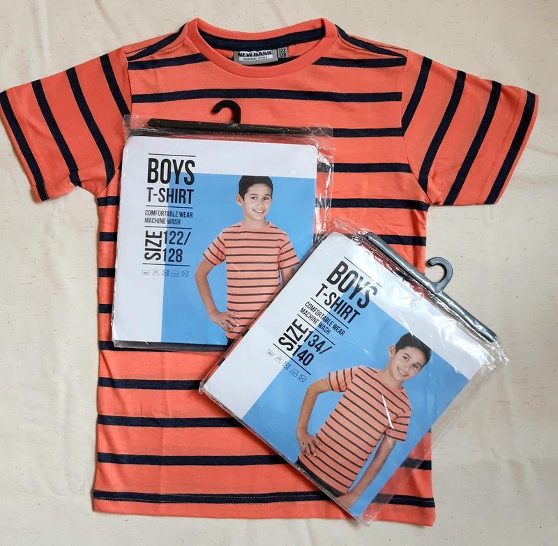 Оранжевая в черную полоску футболка new basic нидерланды на 7-...