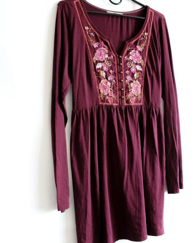 Бордовое платье с вышивкой tu - Фото 6