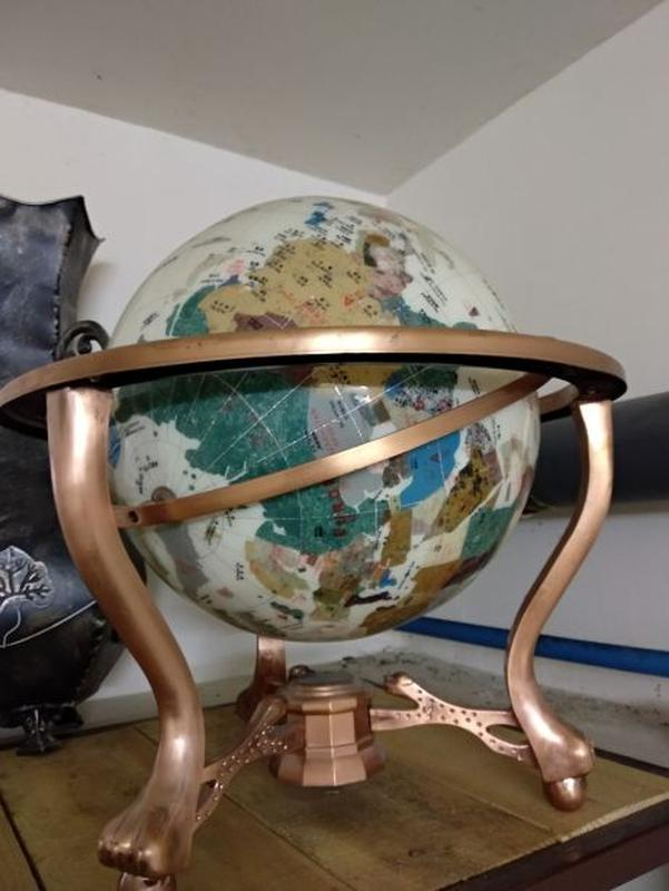Глобус Gemstone интерьер декор полудрагоценные камни мозаика мира