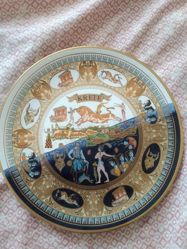 Тарелка сувенирная коллекционная Греция Крит 24К золото ручная...