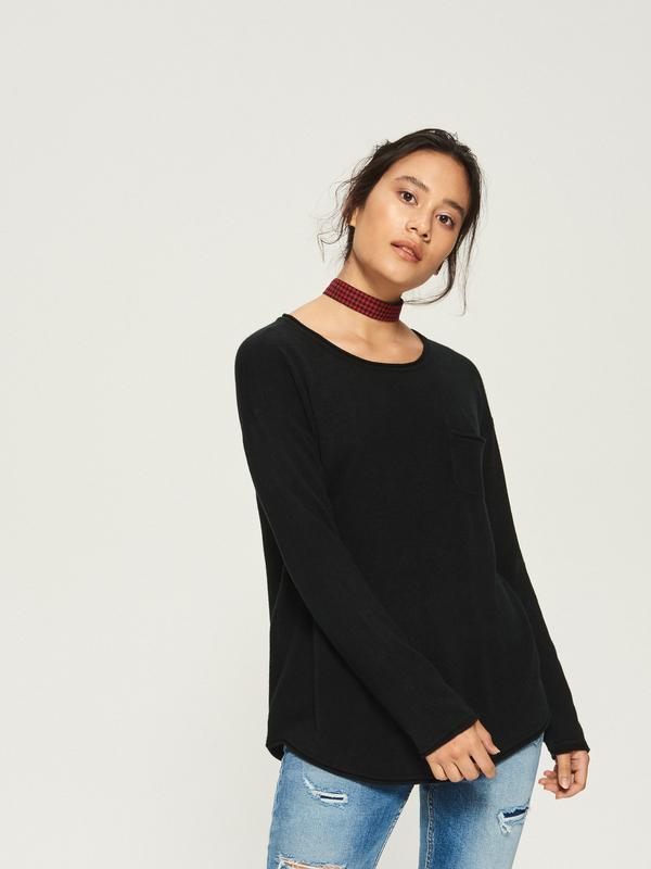 Новая однотонная широкая черная кофта свитер оверсайз джемпер ...
