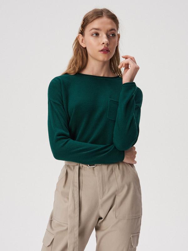 Новая широкая зеленая кофта темно-зеленый свитер изумрудный дж...