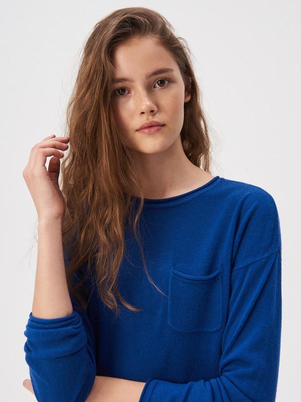 Новая однотонная широкая синяя кофта ярко-синий свитер джемпер...