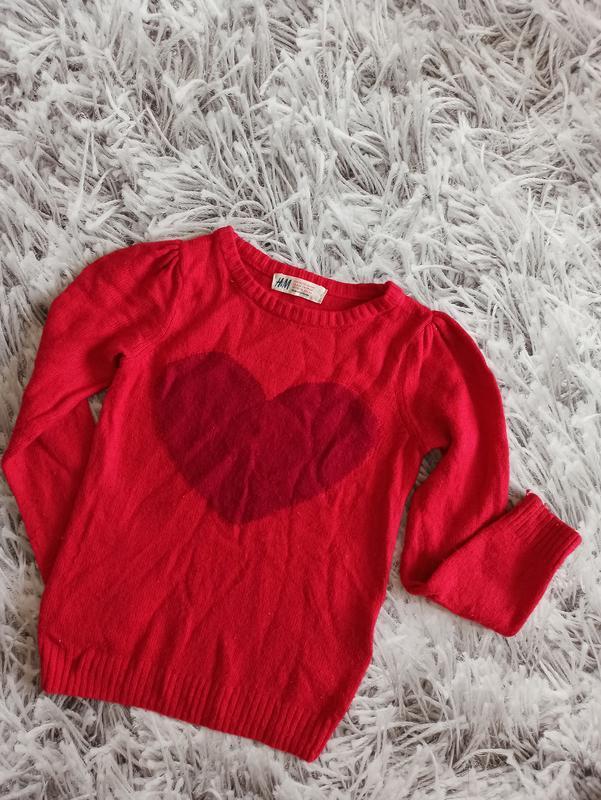 Свитер h&m red, детский свитер красный, детский джемпер для де...