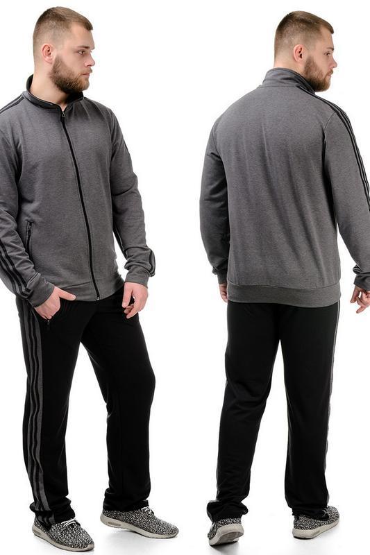 Трикотажный мужской спортивный костюм темно-серый.