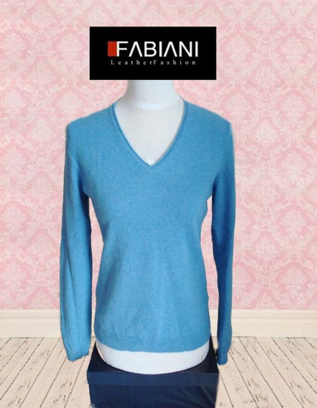 🦄🦄fabiani 100% кашемир базовый женский свитер мыс голубой 🦄🦄🦄