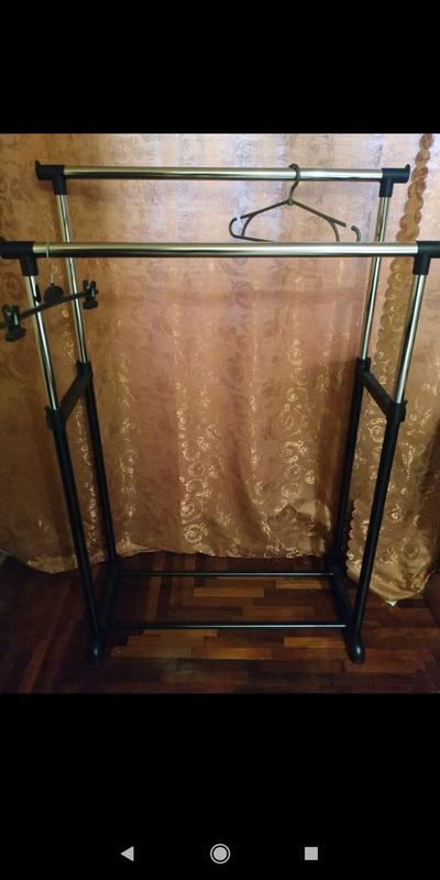 Телескопическая двойная стойка (вешалка )для одежды