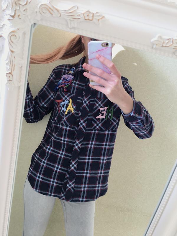 Распродажа!! ☀️тёплая брендовая рубашка с длинным рукавом катя...