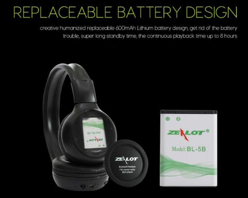Беспроводные Bluetooth Наушники Складные Hi-Fi Стерео Zealot B... - Фото 8