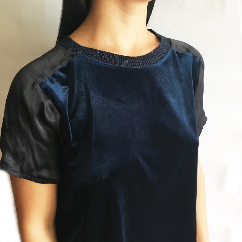 Блузка бархатная велюровая комбинированная  zara размер l