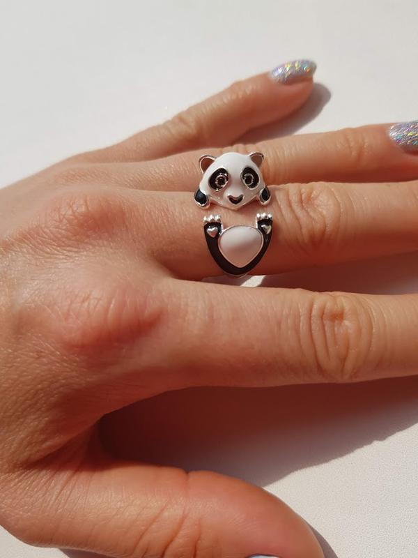 Серебряное кольцо с эмалью панда / мишутка