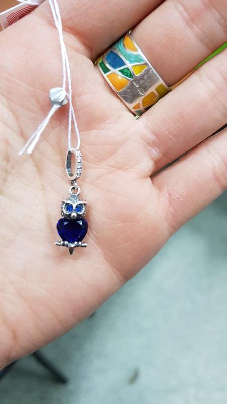 Серебряный подвес совенок / сова с синим цирконом