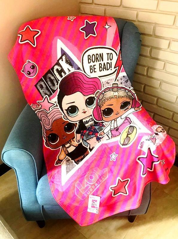 Детское пляжное полотенце кукла сюрприз лол lol rock, для дево...