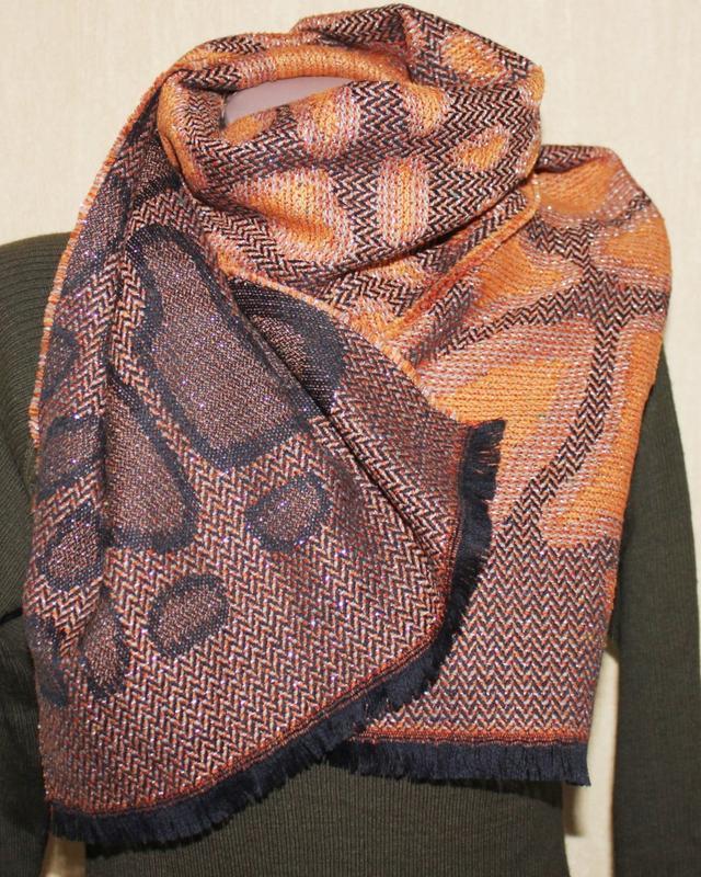 Шарф оранжево чёрный питон шерсть, франция 37 на 160 см