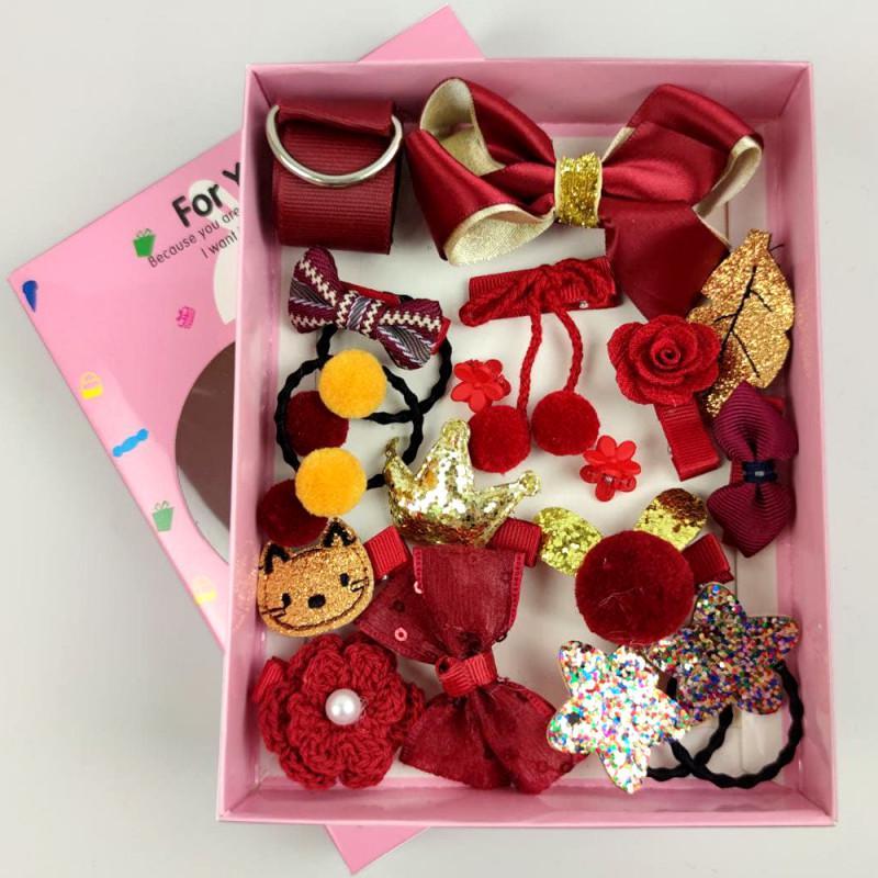 Подарочный набор для волос детский бордо 17 предметов