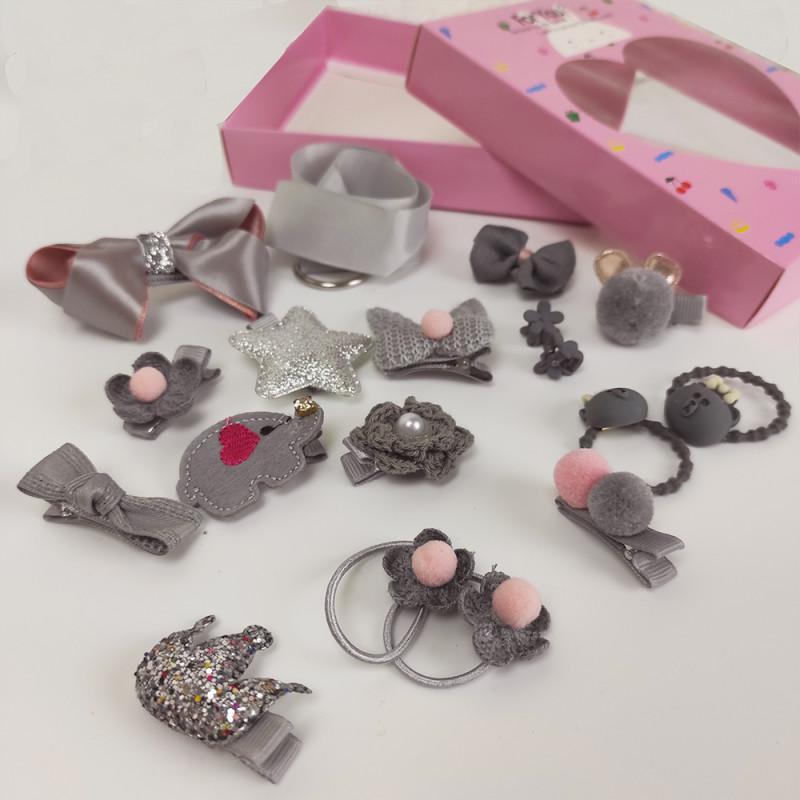 Резинки для волос для девочек Детский набор 17 предметов серебро