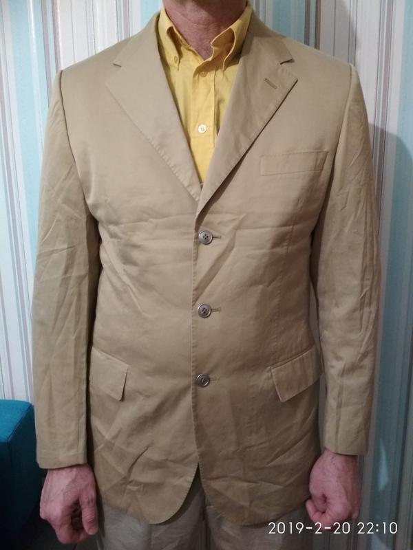 Пиджак жакет блейзер мужской легкий светлый бежевый хлопок коттон