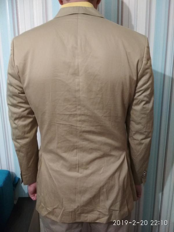 Пиджак жакет блейзер мужской легкий светлый бежевый хлопок коттон - Фото 2