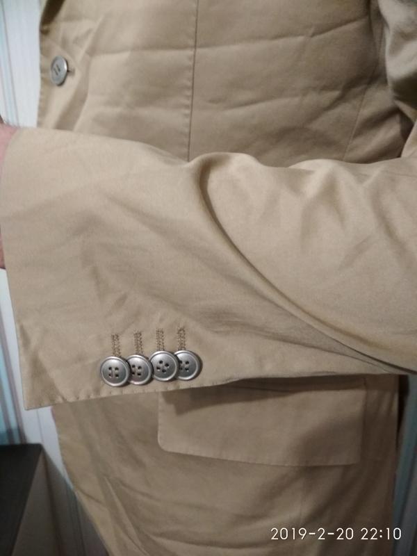 Пиджак жакет блейзер мужской легкий светлый бежевый хлопок коттон - Фото 3