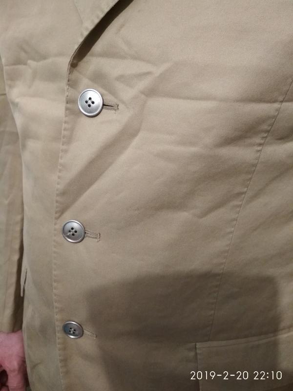 Пиджак жакет блейзер мужской легкий светлый бежевый хлопок коттон - Фото 4