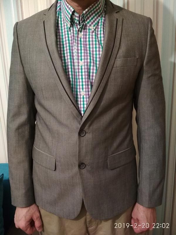 Пиджак мужской серый zara шерсть