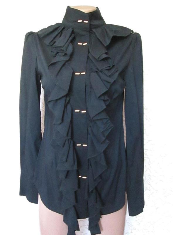 Женская чёрная блузка с оборками длинный рукав рубашка р s-m