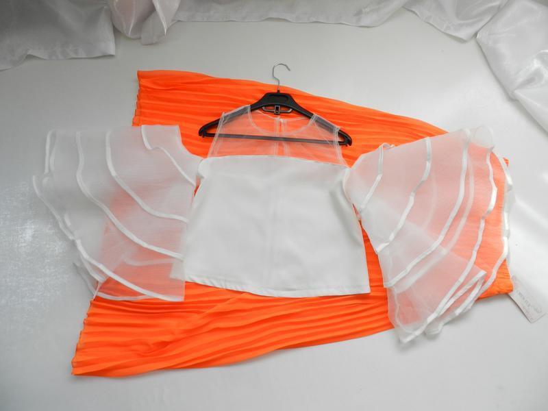 ⛔✅ шикарная блуза топ с пышными прозрачными рукавами воланами ...