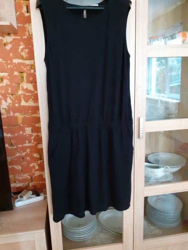 Натуральное  супер платье  с карманами  и резинкой по талии edc