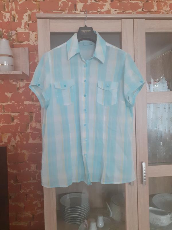 Милая котоновая  рубашка okay большого размера
