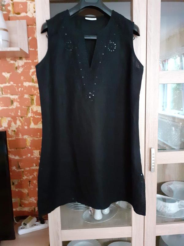 Крутейшее льняное платье с вышивкой и пайетками большого разме...