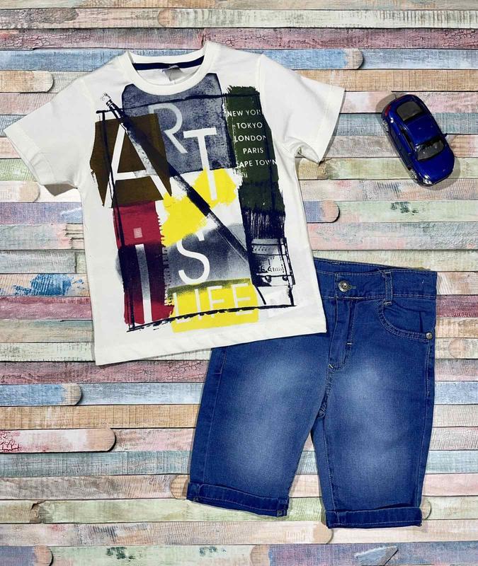 Летний костюм для мальчика с джинсовыми шортами  98 - 110  раз...