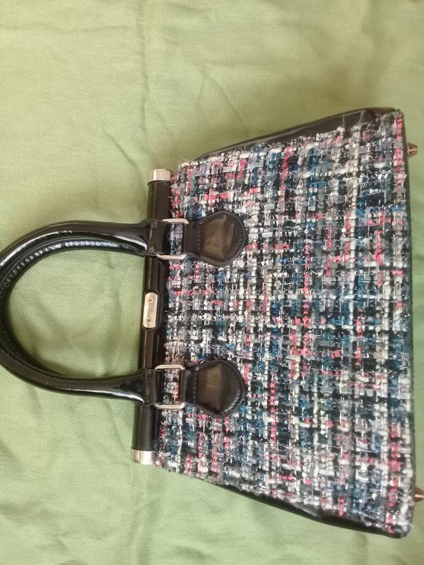 Стильная сумочка redherring германия текстиль + лак - Фото 4