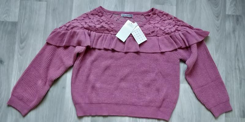 Новая женская кофта свитер с ажурными вставками - Фото 2