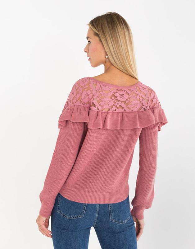 Новая женская кофта свитер с ажурными вставками - Фото 3