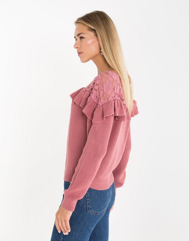 Новая женская кофта свитер с ажурными вставками - Фото 5