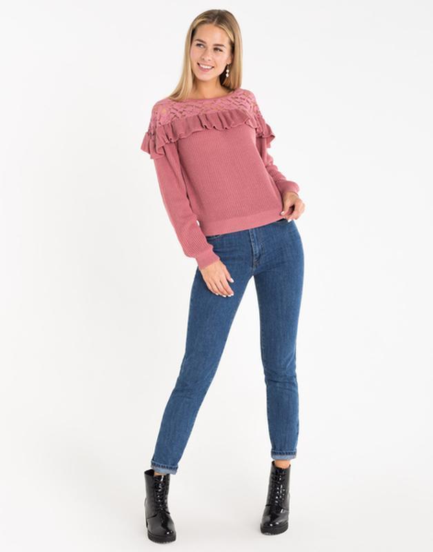 Новая женская кофта свитер с ажурными вставками - Фото 7